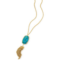 Kendra Scott: Rayne Long Pendant Necklace In Bronze Veined Turquoise