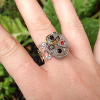 Black & Red Cystal Steampunk Watch Adjustable Silver Intricate Ring