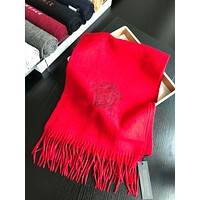 Versace New fashion embroidery human head letter tassel scarf women Red