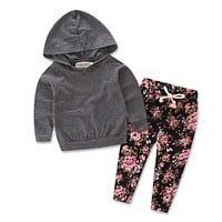 Newborn Baby Girls Clothes Set Grey Hooded Tops Hoodies Long Floral Pants Casual 2Pcs Outfits Set Clothing Baby Girl