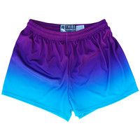 Women Cyan and Purple Ombre Sport Shorts