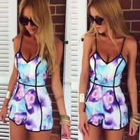 Feitong 2017 Fashion Jumpsuit Rompers Bodysuit Overalls For Womens Ladies Summer Sexy Deep V-Neck Floral Printed Shorts Playsuit
