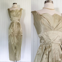 antique gold satin 1950s vintage petal shelf bust wiggle cocktail maxi dress // structural origmami details // size S 34 bust