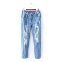 Stylish Korean Rinsed Denim Ripped Holes Jeans Women's Fashion Skinny Pants [4918966852]