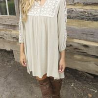 By Your Side Slate Baby Doll Dress With Crochet Bib & Sleeve Cutouts
