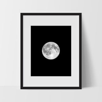 Moon Phase Wall Art, Black and White Modern Art, Prints