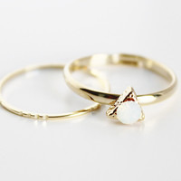 Moon Stone Ring Set - Gold