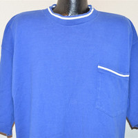 90s Cross Colours Hip Hop Blue and White Pocket t-shirt Extra-Large