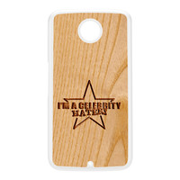 Carved on Wood Effect_Celebrity Hater White Hard Plastic Case for Google Nexus 6 by Chargrilled