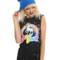 Lisa Frank Unicorn Rainbow Splatter Wash Girls Muscle Top