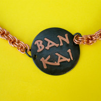 Bleach Japanese anime manga inspired Ban Kai Shi Kai double sided etched copper necklace