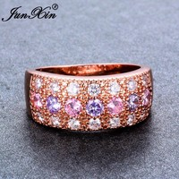 JUNXIN Luxury Female Pink Purple Ring 2018 Fashion Rose Gold Filled Jewelry Vintage Wedding Rings For Women New Year Gifts