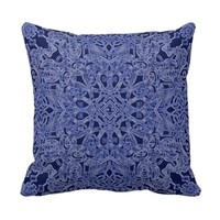 Blue throw pillow. Floral psychedelic design