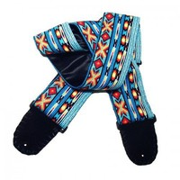 Colorful Turquoise Blue Native American Style Guitar Strap Handmade   Coolstraps - Music/Instruments on ArtFire