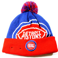 New Era Kid's Detroit Pistons Jr Woven Biggie Blue/Red Cuffed Knit Hat