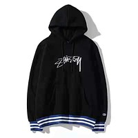 Stussy Autumn And Winter New Fashion Bust Embroidery Letter Women Men Thick Keep Warm Hooded Long Sleeve Top Sweater Black