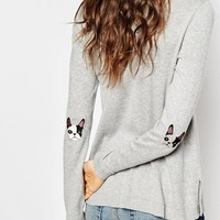 ASOS Jumper With Pug Elbow Patch