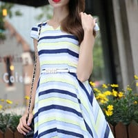 Yellow Blue Striped Short Sleeve Skater Dress