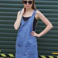 * Vintage 1980's Denim Dungaree Pinafore Dress