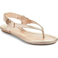 Tory Burch Minnie Leather Travel Sandal (7 Rose Gold)