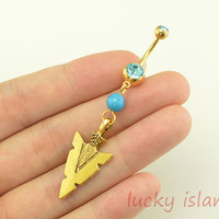 bellybutton jewelry,arrow head belly button rings,turquoise bead navel ring,gold piercing bellyring,friendship gift
