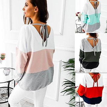Patchwork Winter Casual Tops Sweatershirt [11962822479]