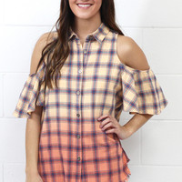 Southern Girl Cold Shoulder Plaid Top {Coral Mix}