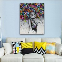 Wall Art African American Black Abstract Portrait Art Canvas Afro Women Poster Canvas Painting for Room Wall Decor Drop shipping