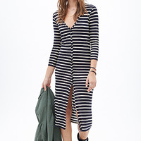 FOREVER 21 Striped Maxi Cardigan Navy/Cream