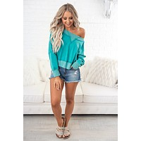 Nap Lovin' Cropped Sweatshirt (Teal)