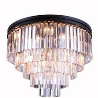 Metro - Small Orb Crystal Chandelier  (17 Light Modern Flush Mount Crystal Chandelier) - 2200F32