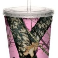 Tree-Free Greetings 80618 Pink Break Up by Mossy Oak Camo Artful Traveler Double-Walled Acrylic Cool Cup with Reusable Straw, 16-Ounce