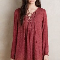 Velvet by Graham and Spencer Laced Peasant Dress in Red Motif Size: