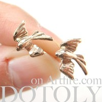 Dove Sparrow Love Birds Mocking Jay Animal Stud Earrings in Light Gold
