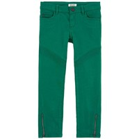 Girls Slim Fit Green Pants with Zippers