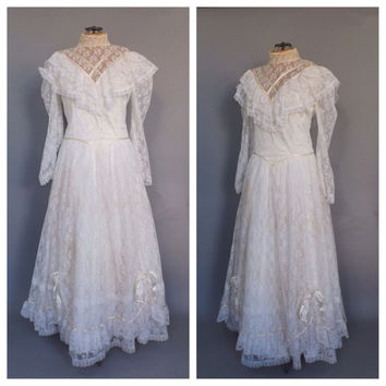 Size 20 Jessica McClintock Bridal Vintage White Lace Wedding Gown Long Sleeve Wedding Dress Victorian Little Bo Beep Southern Belle Lolita