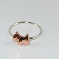 Scotty Dog Sterling and Copper Ring