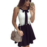 Fashion Black White Lace Women Dress O-neck Sleevelessashion Summer Dress Vestidos Elegant Casual Mini Dress HZLP18200