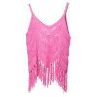 Sexy Women H Woven Sweaters Fringed Harness Tank Tops Loose Sleeveless Vest knitted Casual Blouse Shirt