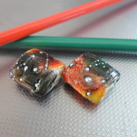 Lampwork Beads, Handmade Square Pillow Glass Beads, handmade Jewelry Supplies for Lampwork Jewelry