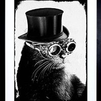 PAINTING DIGITAL DAWN FIELDING STEAMPUNK CAT MOJO B&W FRAMED PRINT F12X8106