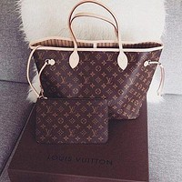 LV Louis Vuitton Women Shopping Leather Tote Handbag Shoulder Bag Purse Wallet Set Two-Piece