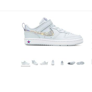 Little Kid - Bedazzled Girls' Nike Court Borough Low 2 Sneakers 10.5-3