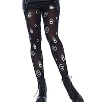 Mystical Symbol Opaque Printed Tights