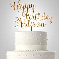 Happy birthday glitter cake topper//personalized cake topper//you pick the color//ships in 1-3 days