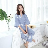 2018 Japanese Kimono Pajamas Women Cotton Yukata Maple Leaves Traditional Kimono Robe & Pants Traditional Asian Women Sleepwear