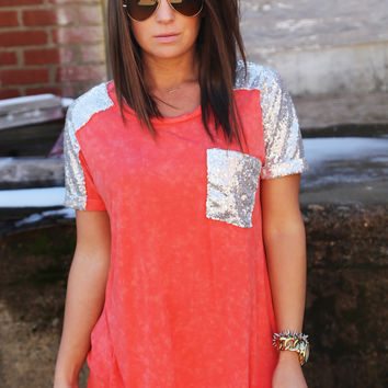 Acid Wash Sequin Tunic {Coral}