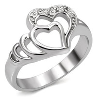 Stainless Steel Heart in a Heart Engagement/Promise Ring