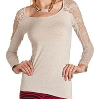 Lace Inset Basic Tee: Charlotte Russe