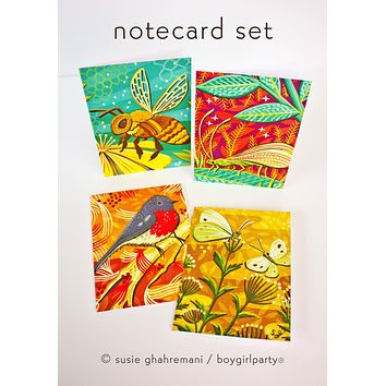 Botanical Notecard Set – Garden Animal / Pollinator Series – Bird Bee Bug Note Cards